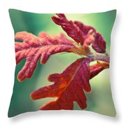 Leaves Of Red Throw Pillow