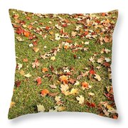 Leaves On Grass Throw Pillow