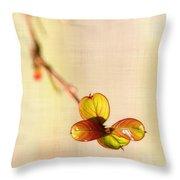 Leaves On Linen Throw Pillow
