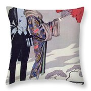 Leaving For The Casino Throw Pillow by Georges Barbier