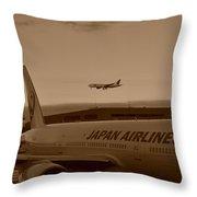 Leaving Japan Throw Pillow