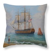 Leaving Portsmouth Harbour Throw Pillow