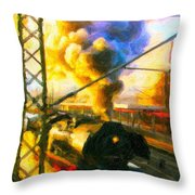 Leaving The Station Throw Pillow