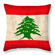 Lebanon Flag Vintage Distressed Finish Throw Pillow