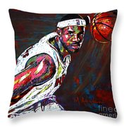 Lebron James 2 Throw Pillow by Maria Arango