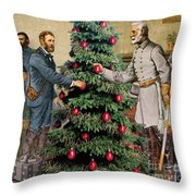 Lee And Grant At Appomattox Throw Pillow