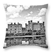 Leeds Castle Black And White Throw Pillow