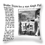 Lefty Duke Signs For A Van Gogh Painting Throw Pillow