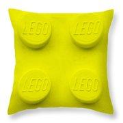 Lego Block Yellow Throw Pillow