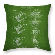 Lego Toy Building Blocks Patent - Green Throw Pillow by Aged Pixel