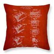 Lego Toy Building Blocks Patent - Red Throw Pillow