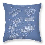 Lego Toy Building Brick Patent - Light Blue Throw Pillow