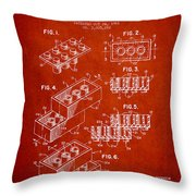Lego Toy Building Brick Patent - Red Throw Pillow