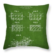 Lego Toy Building Element Patent - Green Throw Pillow
