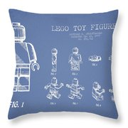 Lego Toy Figure Patent Drawing From 1979 - Light Blue Throw Pillow
