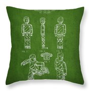 Lego Toy Figure Patent - Green Throw Pillow by Aged Pixel