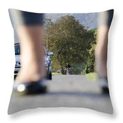 Legs And Car Throw Pillow