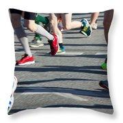 Legs Of Runners At Marathon Throw Pillow