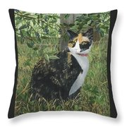 Leia Cat In Blueberries Throw Pillow