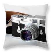 Leica M3 With Leather Strap Throw Pillow