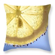 Lemon And Bubbles Throw Pillow