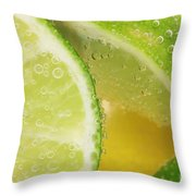 Lemon And Lime Slices In Water Throw Pillow
