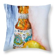 Lemon And Pilsner Throw Pillow by Beverley Harper Tinsley