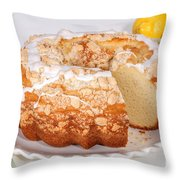 Lemon Bundtcake With Wedge Cut Out Throw Pillow