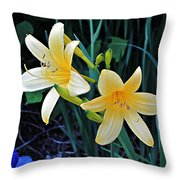 Lemon Lily Blooms Throw Pillow