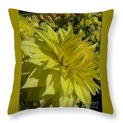 Lemon Yellow Dahlia  Throw Pillow