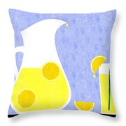 Lemonade And Glass Blue Throw Pillow
