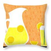 Lemonade And Glass Orange Throw Pillow