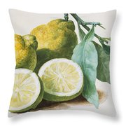 Lemons Throw Pillow by Pierre Joseph Redoute