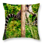 Lemur In The Green Throw Pillow