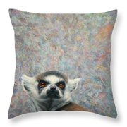 Lemur Throw Pillow by James W Johnson