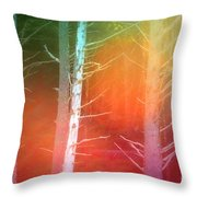 Lens Flare In The Forest Throw Pillow