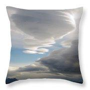 Lenticular Cloud Over Puerto Natales Throw Pillow