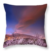Lenticular Clouds Over Almond Trees Throw Pillow