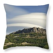 Lenticular Clouds Over Dornajo Mountain Throw Pillow
