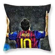 Leo Messi Poster Art Throw Pillow