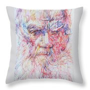 Leo Tolstoy/ Colored Pens Portrait Throw Pillow
