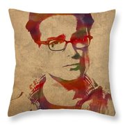 Leonard Hofstadter Watercolor Portrait Big Bang Theory On Distressed Worn Canvas Throw Pillow