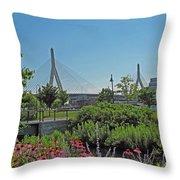 Leonard P Zakim Bridge From Cambridge Throw Pillow