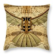 Leonardo Da Vinci Antique Flying Machine Under Parchment Throw Pillow