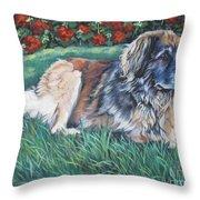 Leonberger Throw Pillow by Lee Ann Shepard