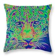 Leopard Eyes Green Throw Pillow
