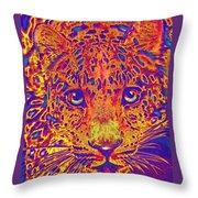Leopard Eyes Orange Throw Pillow