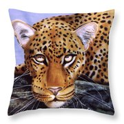 Leopard In A Tree Throw Pillow
