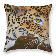 Leopard In Botswana Throw Pillow