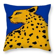 Leopard On Blue Throw Pillow